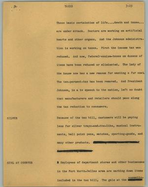 Primary view of object titled '[News Script: Taxes]'.