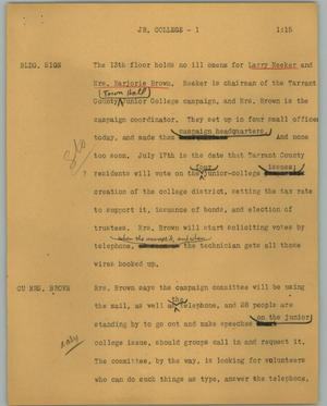 Primary view of object titled '[News Script: Jr. college]'.