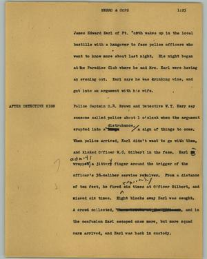Primary view of object titled '[News Script: Negro & cops]'.