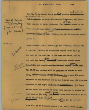 Primary view of object titled '[News Script: Ft. Worth School Board]'.