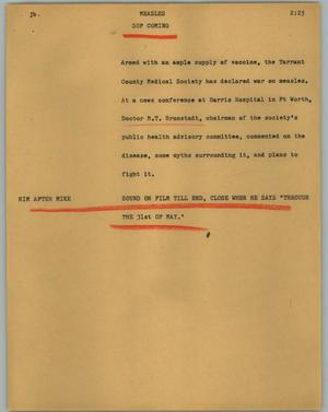 Primary view of object titled '[News Script: Measles]'.
