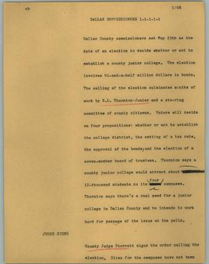 Primary view of object titled '[News Script: Dallas commissioners]'.