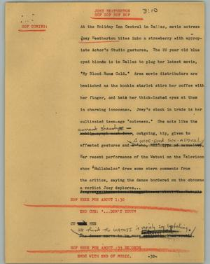 Primary view of object titled '[News Script: Joey Theatherton]'.