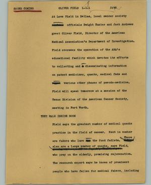 Primary view of object titled '[News Script: Oliver Field]'.