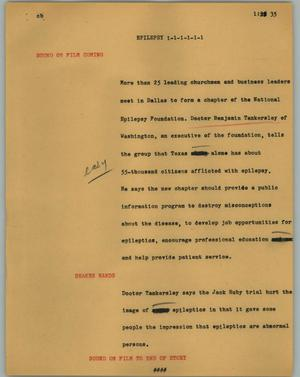 Primary view of object titled '[News Script: Epilepsy]'.