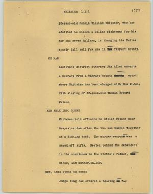 Primary view of object titled '[News Script: Whitaker]'.