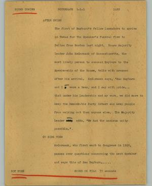 Primary view of object titled '[News Script: McCormack]'.