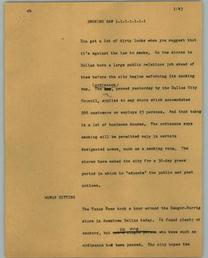 Primary view of object titled '[News Script: Smoking ban]'.