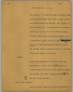 Primary view of object titled '[News Script: Junior college]'.