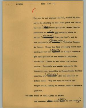 Primary view of object titled '[News Script: Toes]'.