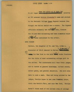 Primary view of object titled '[News Script: Co*ed quean]'.