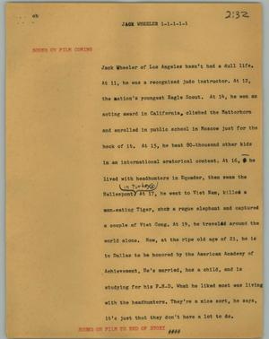 Primary view of [News Script: Jack Wheeler]