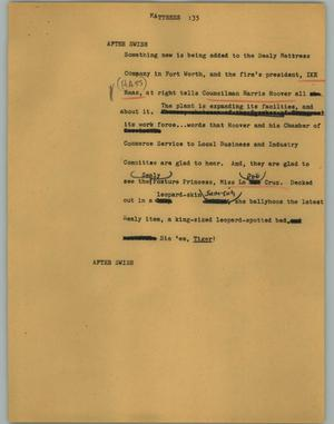 Primary view of object titled '[News Script: Mattress]'.