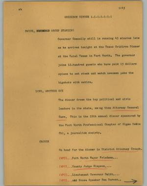 Primary view of object titled '[News Script: Gridiron dinner]'.