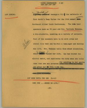 Primary view of object titled '[News Script: Youth conference]'.