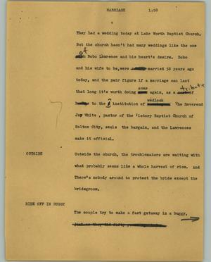 Primary view of object titled '[News Script: Marriage]'.