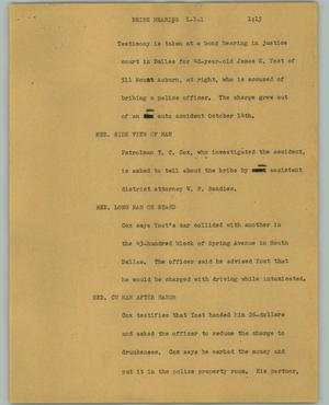 Primary view of object titled '[News Script: Bribe hearing]'.