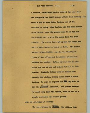 Primary view of object titled '[News Script: Gas firm robbery]'.