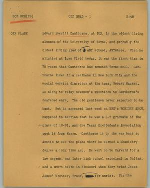 Primary view of object titled '[News Script: Old grad]'.