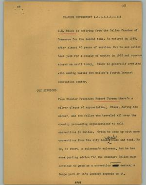 Primary view of object titled '[News Script: Chamber retirement]'.