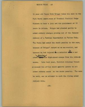 Primary view of object titled '[News Script: Briggs trial]'.