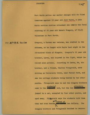 Primary view of object titled '[News Script: Stabbing]'.