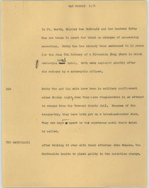 Primary view of object titled '[News Script: Mac Donald]'.