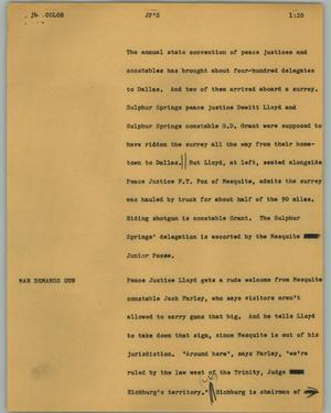 Primary view of object titled '[News Script: JP's]'.