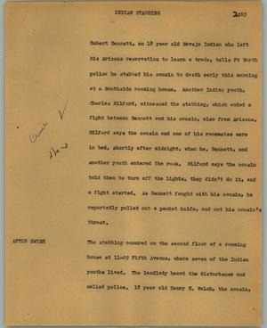Primary view of object titled '[News Script: Indian stabbing]'.
