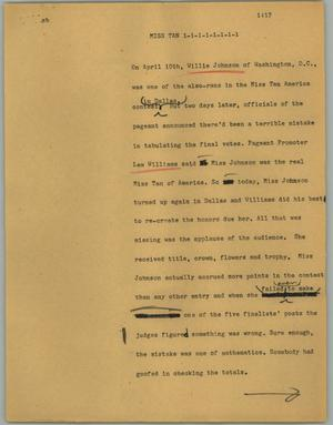 Primary view of object titled '[News Script: Miss Tan]'.