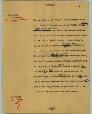 Primary view of object titled '[News Script: Teller]'.