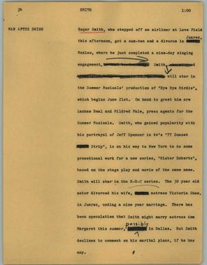 Primary view of object titled '[News Script: Smith]'.