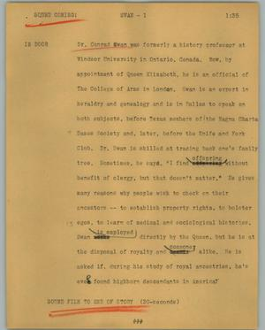 Primary view of object titled '[News Script: Swan]'.