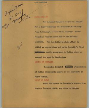 Primary view of object titled '[News Script: John Connally]'.