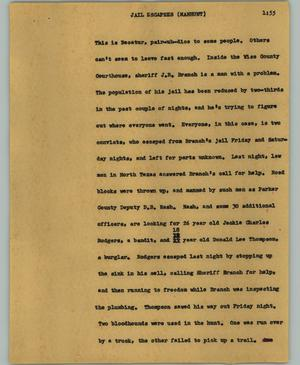 Primary view of object titled '[News Script: Jail escapes (Manhunt)]'.