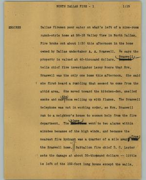 Primary view of object titled '[News Script: North Dallas fire]'.