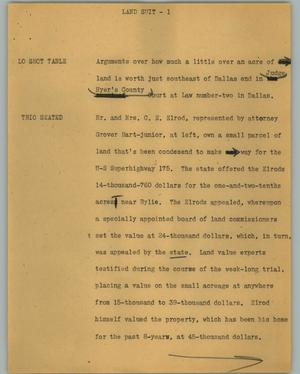 Primary view of object titled '[News Script: Land suit]'.