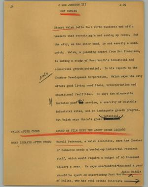 Primary view of object titled '[News Script: J Lee Johnson]'.