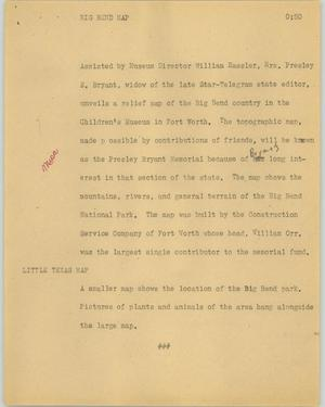 Primary view of object titled '[News Script: Big Bend map]'.