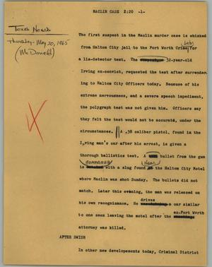Primary view of object titled '[News Script: Maclin case]'.
