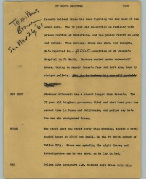 Primary view of object titled '[News Script: Ft Worth Shooting]'.