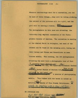 Primary view of object titled '[News Script: Photographers]'.