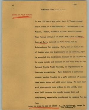 Primary view of object titled '[News Script: Wagoner Carr]'.