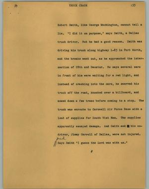 Primary view of object titled '[News Script: Truck crash]'.