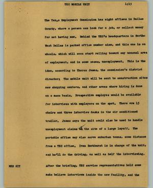 Primary view of object titled '[News Script: TEC mobile unit]'.