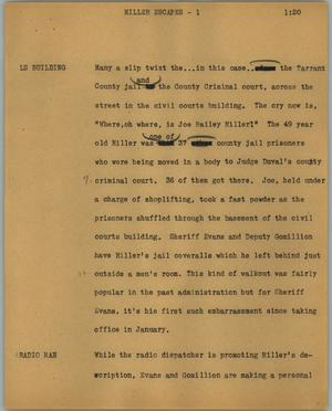 Primary view of object titled '[News Script: Millers escapes]'.