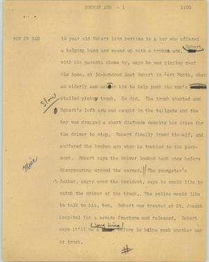 Primary view of object titled '[News Script: Broken arm]'.