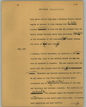Primary view of object titled '[News Script: Guy falls]'.