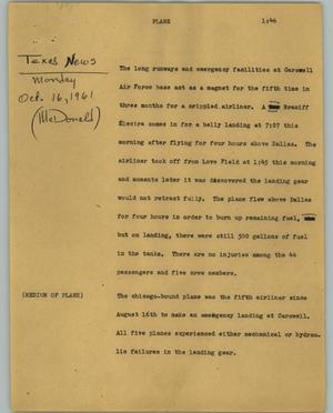 Primary view of object titled '[News Script: Plane]'.