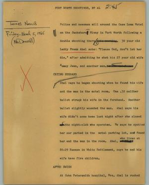Primary view of object titled '[News Script: Fort Worth shootings, et. al.]'.
